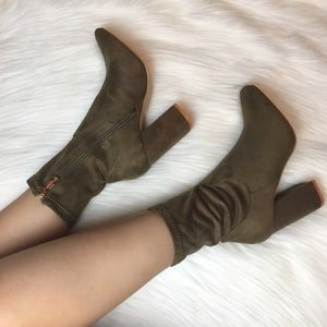 Shoes - Olive Faux Suede High Ankle Boots