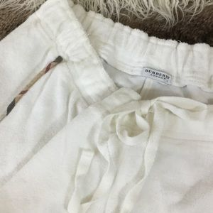 Burberry Pants - Burberry white crop terry cloth pants