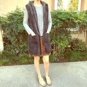 Charcoal Faux Fur Vest
