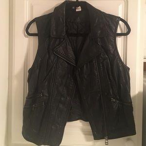 """H&M DIVIDED Black Faux """"Leather"""" Vest"""