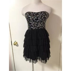 Formal Prom Party Sparkly Sequins Tiered Dress