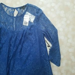 FLASH SALE Blue Lace Shift Dress