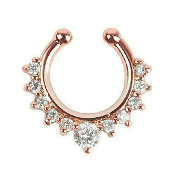 Dollskill Jewelry - Rose gold tone and crystal septum ring.