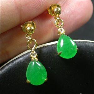 Green JADE Earring Earrings Teardrop