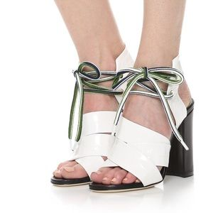 MSGM Shoes - MSGM white and black block heel sandals