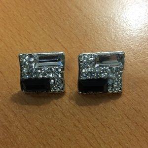 Black Silver Square Bling Earrings