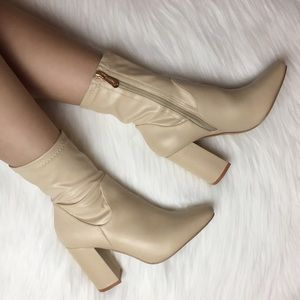 Shoes - Nude Faux Leather High Ankle Boots