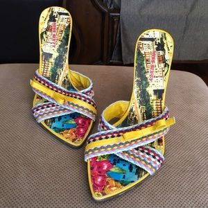 Multicolored cork wedge sandals