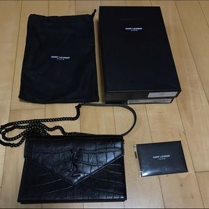Yves Saint Laurent Ysl Monogram Envelope Chain Wallet In
