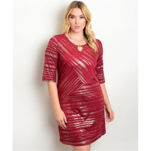 Dresses | 1 Hr Sale Burgundy Gold Plus Size Dress | Poshmark