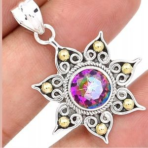 Rainbow Topaz Star Necklace