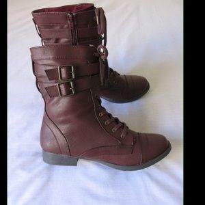 Material Girl Shoes - Burgundy Combat Boots W/Straps-Buckles & Zipper