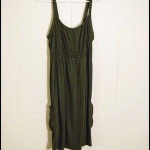Dark green midi dress