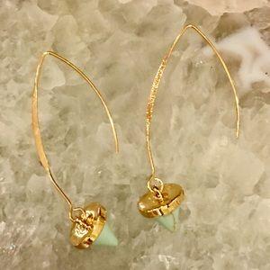 Natural Jade Marble Stone Gold Dangle Earrings