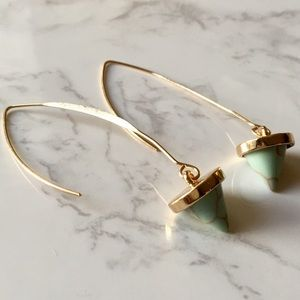 Natural Jade Marble Stone Gold Dangle Earrings