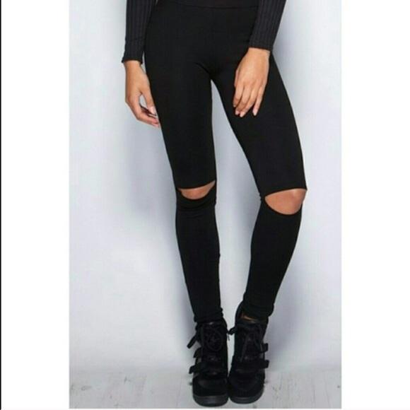 46% off Fashionomics Pants - ONE LEFT! High-waist Cut-out Knees ...