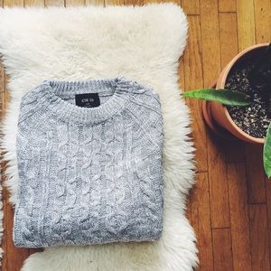 Fashionomics Sweaters - TWO LEFT! Grey Cableknit Crew Neck Sweater