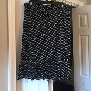 Black and white polka dot flirty skirt.