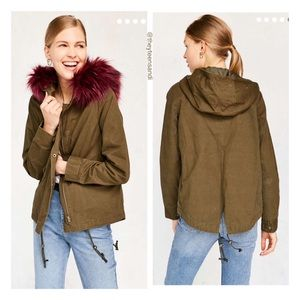 Urban Outfitters Fur Anorak Utility Jacket