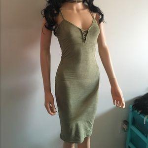 Olive faux suede dress