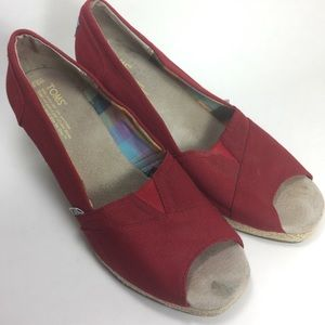 Toms Red Wedge Sandals