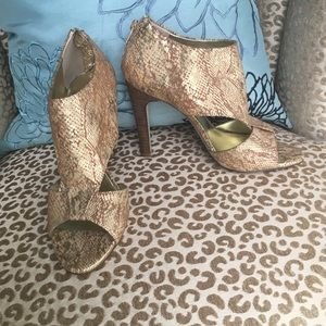 Sole Society gold snake sandal/bootie