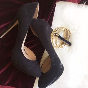 Zara Black Faux Suede Heels