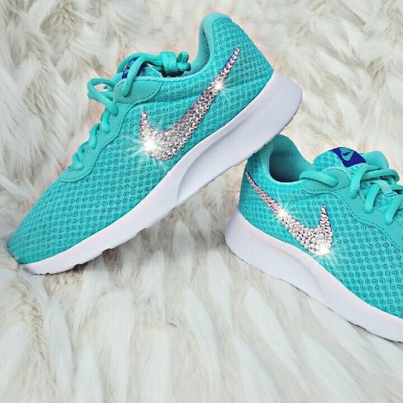 Swarovski Crystal Bling Nike Tanjun - Turquoise 2ab96bf6a