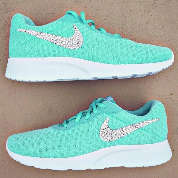 Swarovski Crystal Bling Nike Tanjun - Tiffany Blue c183db1514
