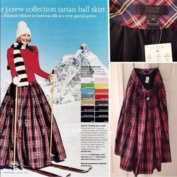 JCrew Collection Tartan Taffeta Ball Skirt NWT 12
