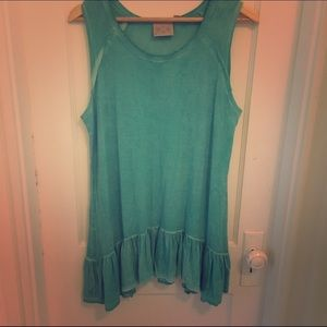 Dantelle Tops - Teal tunic with ruffle