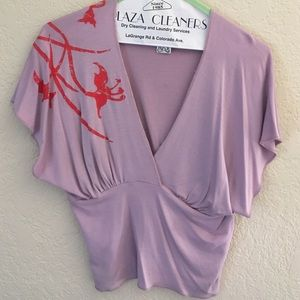 TOAST hand painted deepV blouse size Large