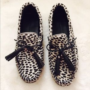 Zara Woman Pony Hair And Animal Print Loafer