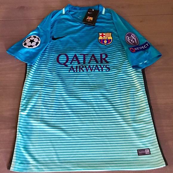 Messi  10 16 17 Barcelona Barca away teal soccer 63a24832b