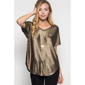 likeNarly Tops - Lux of My Life Gold Top