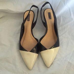 SCHUTZ Shoes - Schutz Black & White Open Back Heel Size 7