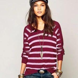 NWOT Free People Maroon Stripe Crochet Top