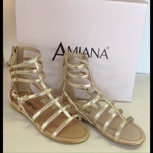 Amiana Shoes - Gold leather gladiator sandals.