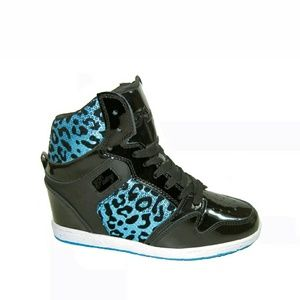 Pastry Shoes - Blue cheetah wedge sneaker