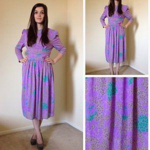 Dresses & Skirts - Vintage Purple/Turquoise/Grey Retro Dress