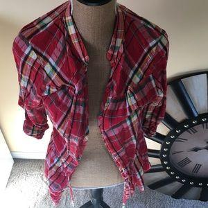 Love Squared Tops - Red plaid quarter length button up shirt