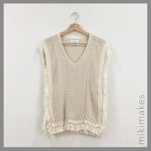Sincerely Jules Tops - SINCERELY JULES • Cream knit sleeveless poncho