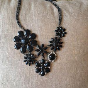 Black flower & crystal necklace