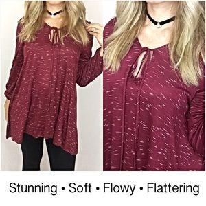 Tops - Flattering Flowy Wine Tie Front Hi Low Tunic SML