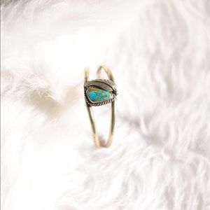 Tribal Turquoise & Feather Cuff