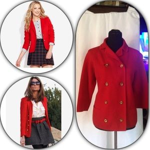 Anthropologie Jackets & Blazers - Vintage Red Knitwear Double Breasted Blazer Sz 10