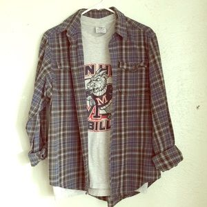 VTG flannel + tee shirt billy goat bundle S/M