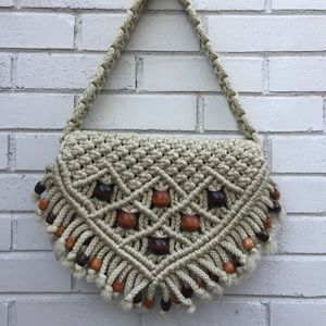 Vintage Boho Hippie Macrame Bag