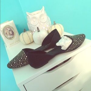 Black and silver stud d'orsay flats