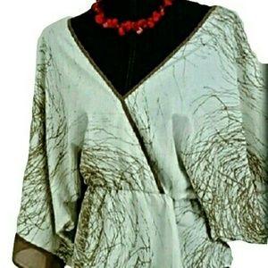 -NWT Boho L Love Stitch Kimono 3/4 Sleeve Top